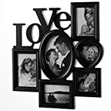 Deuba Bilderrahmen Bildergalerie Fotorahmen Fotocollage Collage Fotogalerie Love Liebe 45cm x 43cm x 3cm für 6 Fotos schwarz