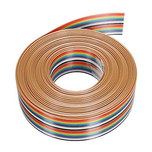 Farwind - 3 cables de conexión DuPont de 5 m, 1,27 mm, 20P, arcoíris, soporte de alambre soldado