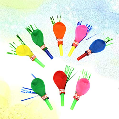 NUOBESTY Musical Blow Outs Ballon Mixed Glitter Fransen Metallic Noisemaker Kinder Nette Blowouts Pfeifen Party Favor Spielzeug (30 Stücke - Zufällige Farbe)