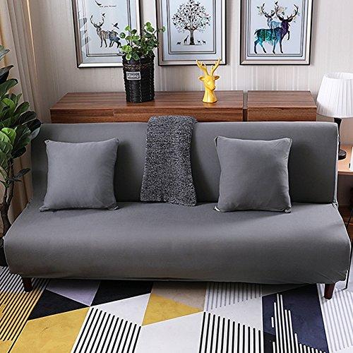 Lovehouse Hussen sofa-bett mit 3 kissen,Surefit sofa covers stretch, Schmutzabweisend rutschfest armlosen protector 3 sitze sofacouch für wohnzimmer -grau - Kissen-abdeckungen Baumwolle Gesteppte