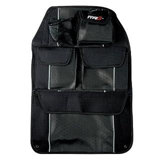 Rücksitztasche in edler Lederoptik mit Mesh - schwarz  (Type S-Serie)
