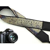 intepro Vintage Weltkarte Kameragurt. Schwarz DSLR/SLR Kamera Gurt. Robust, leichtes und gut gepolstert Kamera Strap. Code 00032