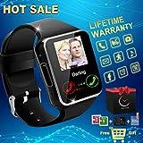 Smartwatch Android, Relojes Inteligentes con Camara Bluetooth Smart Watch Whatsapp Facebook Teléfonos Inteligentes Hombre Mujer Niño Deportivo Reloj Soporte SIM/TF para Samsung Huawei Android/iOS