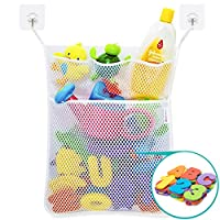 Wemk Bath Toy Bag Baby Bath Toy Organiser Bathroom Storage Net With Self Adhesive Robust Hooks