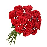 JUSTOYOU Rose Gladiolen Künstliche Seide Fake Blumen Bouquet für Hochzeit Blumenarrangements Home Decor von, Red Roses+White Gypsophila