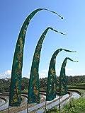 Bali-Fahne, dunkelgrün mit gold-Aufdruck 5 Meter