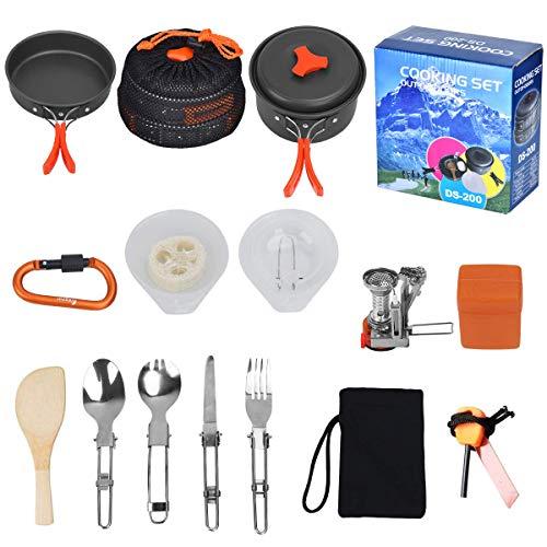 Outtybrave 17Pcs Kit de Acampar Utensilios,portátil de Cocina de Camping Deal para...