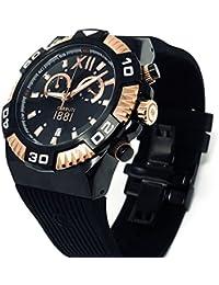 Cerruti CRWA038D224Q 1881 Diamond - Reloj cronógrafo para hombre (correa de caucho de 44 mm), color negro