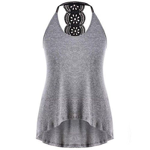 TUDUZ Damen Sommer V-Ausschnitt Swing Spitze Asymmetrische Einfarbig Weste Tank Tops Bluse Basic T-Shirt