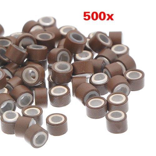 TOOGOO(R) 500pcs Anneaux boucle pour Extension de Cheveux en aluminium et silicone brun