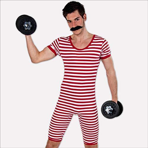 (NET TOYS Witziger Ringelbadeanzug Herren | Rot-Weiß in Größe M (48/50) | Außergewöhnliche Männer-Verkleidung 20er Jahre Retro-Badeanzug geeignet für Kostümfest & Mottoparty)