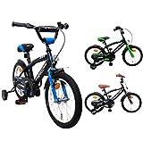 AMIGO - BMX Fun - Bicicletta Bambini - 16'' (per 4-6 Anni) - con stabilizzanti - Nero/Blu