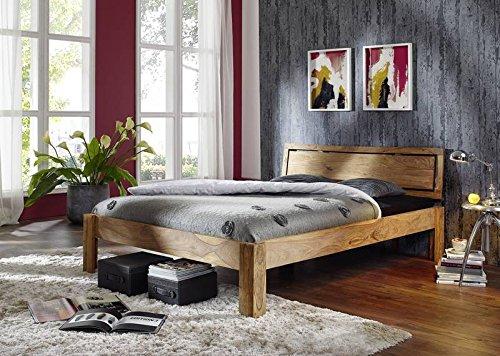 Sheesham Massivmöbel geölt Bett 200x200 Palisander Holz massiv Massivholz Nature Brown #523 (Modernen Natur-holz-bett)