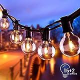 BACKTURE Lichterkette Außen, 6.8M 16 LEDs mit 2 Ersatz-LEDs Warmweiß Lichterkette Glühbirnen Beleuchtung G40 für Xmas Garten Terrasse Hochzeit Hof Haus Party Dekoration