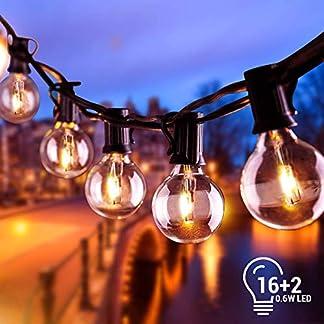Cadena de Luces, Impermeable Guirnaldas luminosas de Exterior con 16 LED Bombillas y 2 Bombilla de Repuesto, Cadena de Bombillas Perfecto para Jardín Patio Trasero Fiesta Navidad, 6.8M