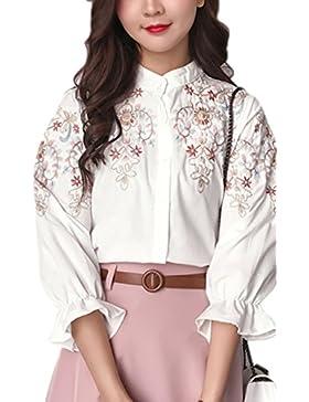 Blusas de un solo pecho bordado Retro de las mujeres White XL