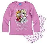 Frozen - Die Eiskönigin Mädchen Schlafanzug ELSA Pyjama (Lila-Weiß, 122-128)