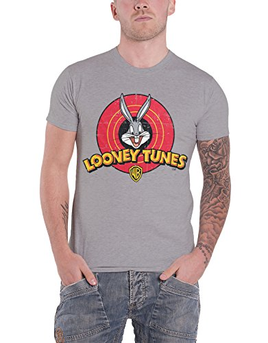 Looney Tunes T Shirt Distressed Bugs Bunny Logo Official Mens Heather Grey