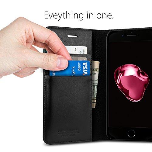 iPhone 7 Hülle, Spigen® [Valentinus] Echt Leder [Schwarz] Premium Ledertasche mit Stand-Funktion - Praktishe Leder Flip Schutzhülle für Apple iPhone 7 Case Cover - Black (042CS20979) VT Schwarz