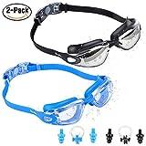 Eocusun 2 Pack Gafas de Natación, Anti Fog y Protección UV, Vista Clara Gafas de Natación Goggles+Tapones para Los Oídos&Clip de Nariz para Adulto Hombres Mujeres Júnior Negro/Azul