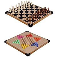Capella Wooden Chinese Checker & Chess with Dice and Tokens (12x12)