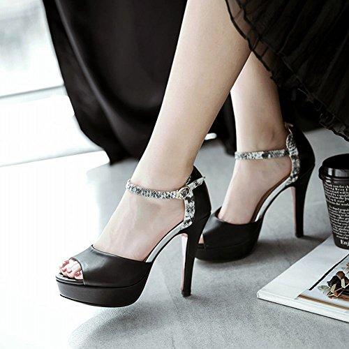 MissSaSa Donna Sandali col Tacco Alto Sexy e Elegante Nero