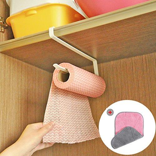 Porta rotoli cucina, simike portarotolo cucina + panno da pulizia in microfibra installazione istantanea senza foratura materiale durevole buon peso di carico per cucina e bagno