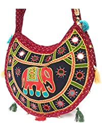 Kings Mount Women's Handicraft Handbag/Sling Bag -Navy Blue Front And Red Back Color