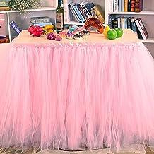 Falda de la tabla, gasa romántica del escritorio de Tulle, decoración de la tabla, copo de nieve Tela de tabla del tutú de las maravillas, para la ducha de bebé, boda, cumpleaños, partido, barra, baile de fin de curso, día de tarjeta del día de San Valentín (Rosa)
