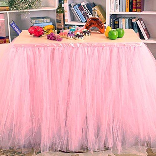 sche Tischdeko mit Tüll, Tischdekoration, Schneeflocke Wonderland Tischdecke, für Baby-Dusche, Hochzeit, Geburtstag, Party, Bar, Prom, Valentinstag Weihnachten (Rosa) (Rosa Tisch)