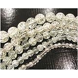 Perlen Glas WEISS Transparent CRASH CRACKLE GLASPERLEN RUND 3 Stränge Set 4mm 6mm 8mm D49