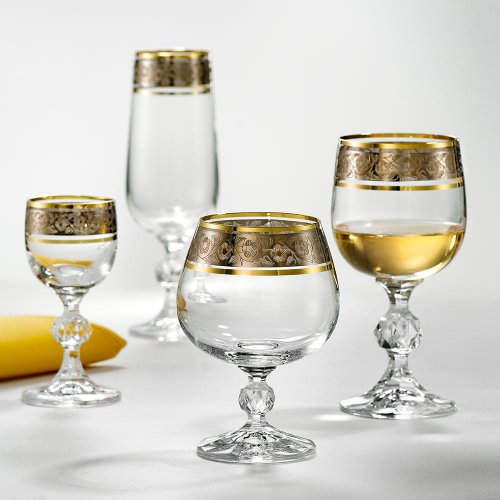 Bohemia esclusiva Crystal Bicchieri da vino Claudia con argento diamanti