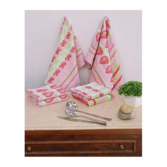 Avira Home Kitchen Towel Cotton Cloth Set with Loop Dishcloth or Cleaning Cloth 6 Pieces (Multi Color)