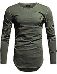 Crone Herren Langarm Shirt Longsleeve Slim Fit T-Shirt Leicht Oversize  Basic Sweatshirt in vielen 9762c6b60e