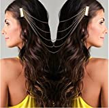 #2: Wedding Hair Accessories Punk Gold Plated Metal Chains Link Tassel Hair Combs Headbands For Women By JewelQueen