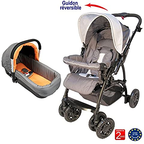 Poussette bébé 4 roues combiné 2en1 (poussette + nacelle auto landau) - Coloris : gris orange