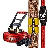 """Gibbon Slacklines Classic Line, Rot, 15 Meter (12,5m Band + 2,5m Ratschenband), für Anfänger und Einsteiger, inklusive Ratschenschutz und -rücksicherung, Breite 2""""/5cm, perfekter Freizeitsport"""