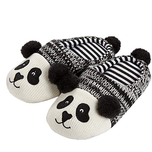 Yvonnelee Family Woman Girl Cute Cartoon Knit Winter Warm Outdoor Indoor Stripe House Home Cute Slippers Men Kids Children Boys 014