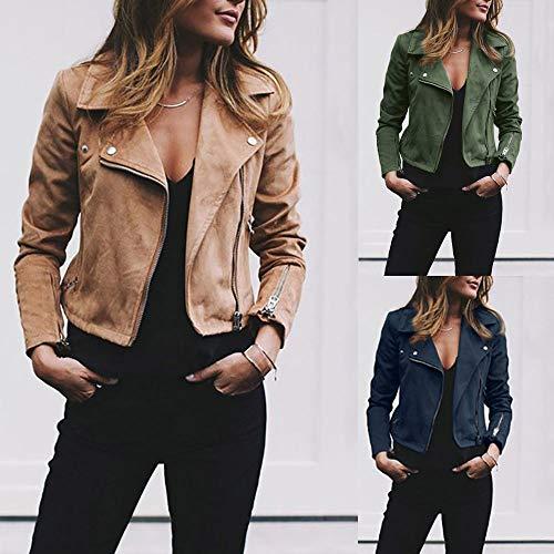 LSAltd Women Ladies Vintage Long Sleeve Rivet Zipper up Plain Color Cropped Bomber Jacket Casual Coat