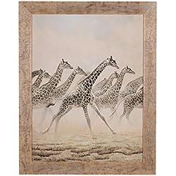 Belssia Cuadro con Diseño Jirafas Corriendo, Madera,, 90x2x114 cm