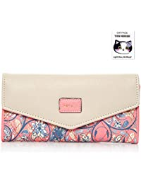 BIG SALE - 40% OFF - Woolala Women Elegant Envelope Wallet Floral Trifold Clutch Long Purse for Party, Shopping, Gift