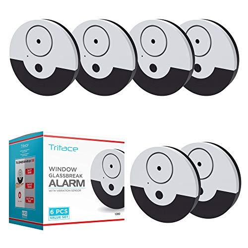 Tritace Fensteralarm mit Vibrationssensoren Set | 130 dB Lautstärke | Mini Alarmanlage - Glasbruchmelder - Glasbruchalarm für Fenster | Extra Lauter Alarm | 6 Stück