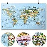 Awesome Maps - Surftrip Map - Illustrierte Weltkarte für Surfer - Wiederbeschreibbar - 97,5 x 56 cm
