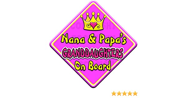 NEW  SWIRLY JEWEL NANA /& PAPA/'S GRANDSON   Personalised Baby Car Window Sign