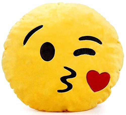 Brigamo 510 - EMOTICON KISSEN AUS PLÜSCH, 30 cm Durchmesser,Smiley Kissen mit diversen Motive zum sammeln (Emoticon das einen Kuss sendet) thumbnail