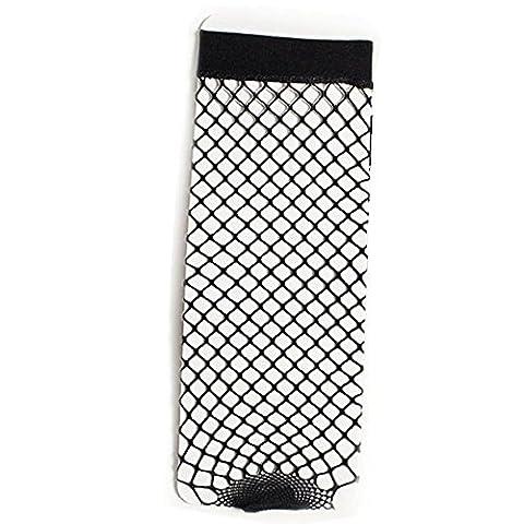 WOCACHI Damen Socken Frauen Fishnet Socken Spitze Knöchel Stilvolle kurze Socken Schwarz (A, Schwarz)