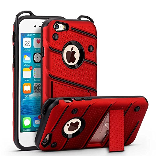 EKINHUI Case Cover Ultra Thin Slim Dual Layer PC + Soft TPU Back Schutzhülle Fall [Shockproof] mit Kickstand für iPhone 6 / 6s ( Color : Rosegold ) Red
