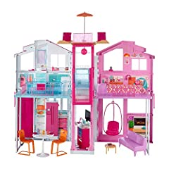 Idea Regalo - Barbie Casa di Malibu con 4 Stanze, Ascensore e Tanti Accessori, 18 x 41 x 74.5 cm DLY32