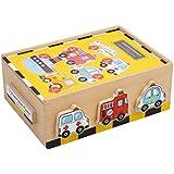 """Puzzle-Box """"Fahrzeuge"""" aus Holz, mit sechs farbenfrohen Motiven, schult die Feinmotorik sowie Farb- und Formerkennung, für Kinder ab 2 Jahre"""