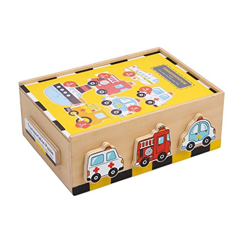 """Puzzle-Box """"Fahrzeuge"""" aus Holz für Auto-Fans, mit sechs farbenfrohen Motiven, schult die Feinmotorik sowie Farb- und Formerkennung, ab 2 Jahre"""